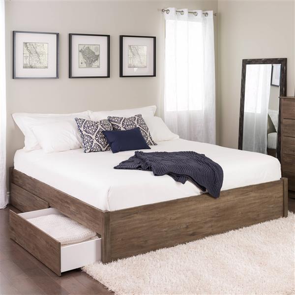 Prepac Select 4-Post Platform Bed 2 Drawers - Drifted Gray - King