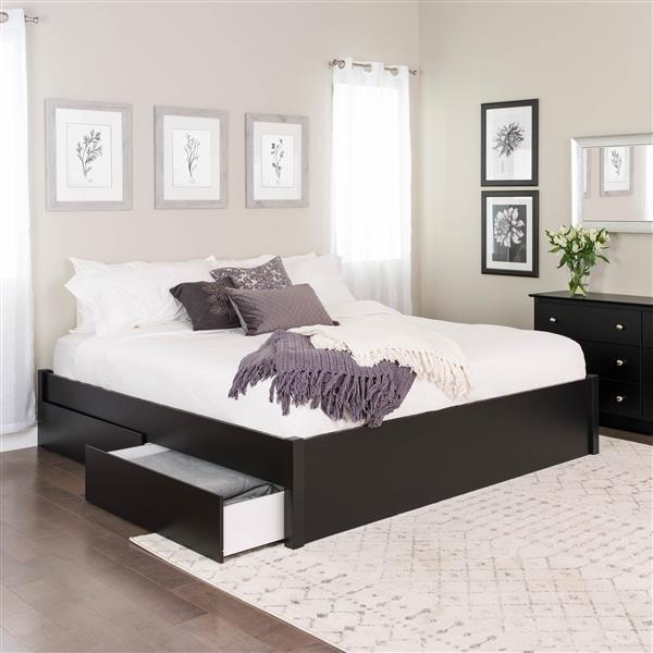 Base de très grand lit plateforme avec quatre tiroirs, noir