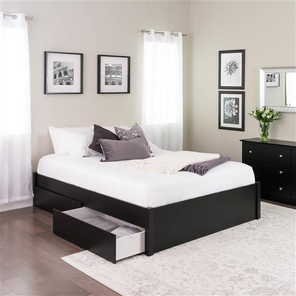 Prepac Select 4-Post Platform Bed - 2 Drawers - Black - Queen