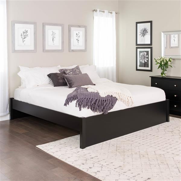 Base de très grand lit plateforme à colonnes Select, noir