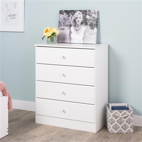 Prepac Astrid Dresser with Acrylic Knobs -  4-Drawer - White