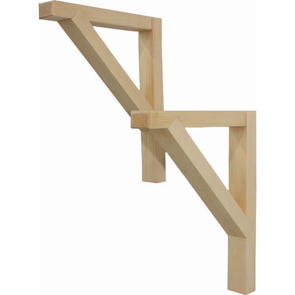 """Équerres en bois de pin, 7""""x 9""""x 1"""", ensemble de 2"""