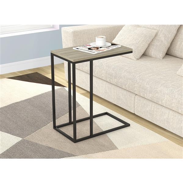 Safdie & Co. C-Shaped End Table - Dark Taupe and Black Metal
