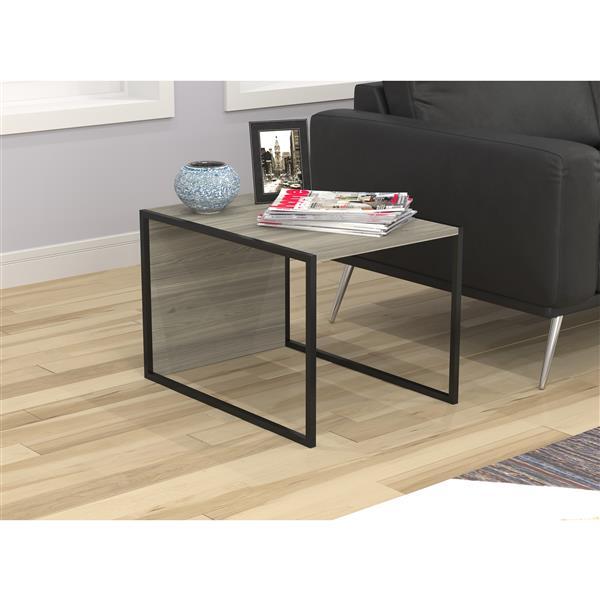 Safdie & Co. Dual Purpose End Table - Grey Wood With Black Metal