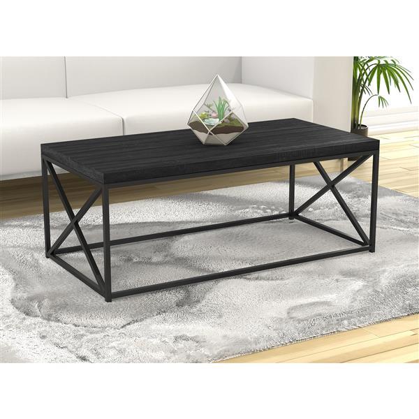 """Table de salon, bois gris et base en métal noir, 44""""L"""