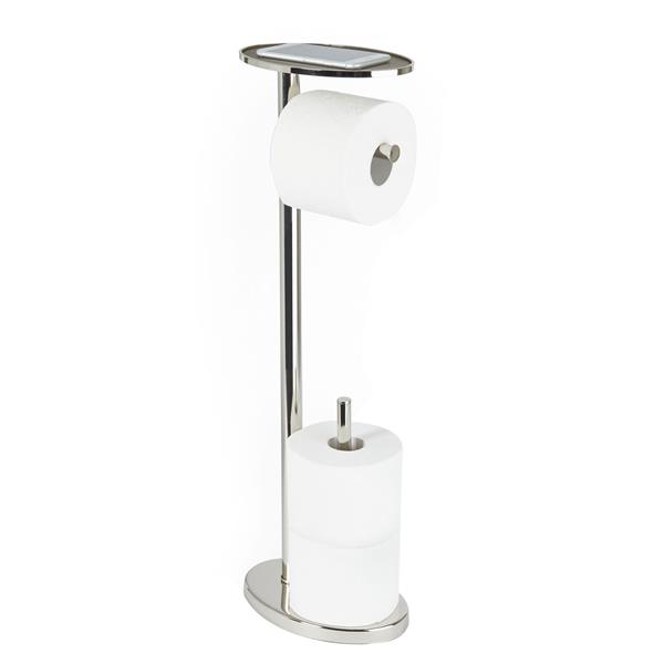 """Porte papier de toilette OVO sur pied, Nickel poli, 25.6"""""""