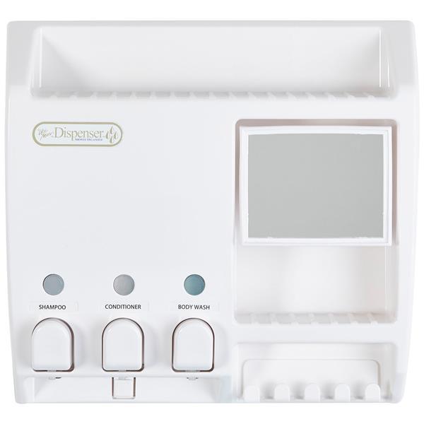 Distributeur de savon avec miroir ULTI-MATE, Blanc, 3x430ml