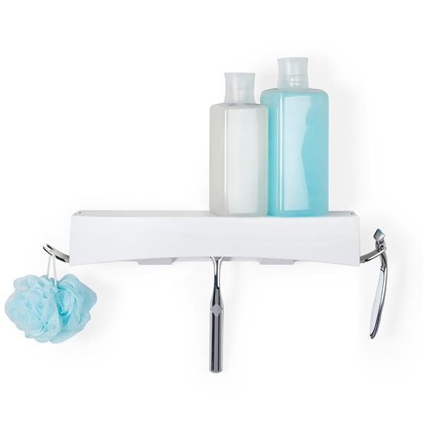 Better Living CLEVER Flip Shower Shelf - White - 14-in x 4-in x 2.5-in