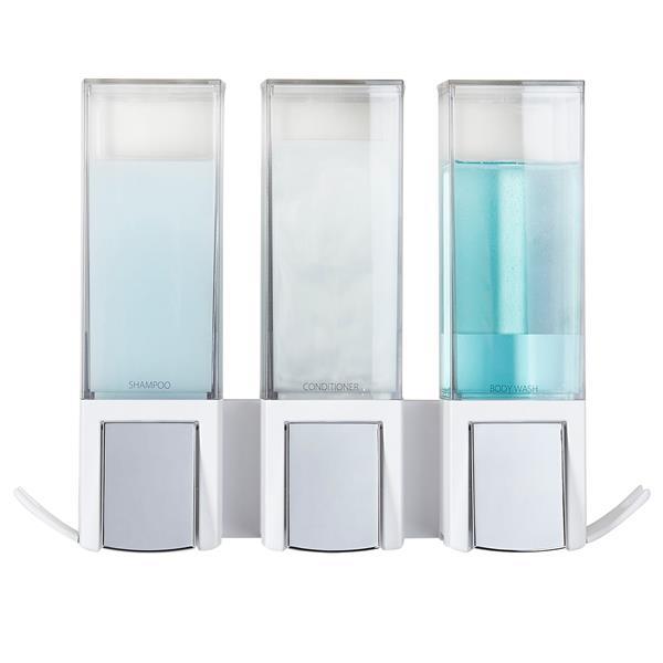 Better Living CLEVER Triple Shower Soap Dispenser - White - 3 x 480 ml