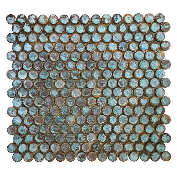 Eden Mosaic Tiles  Green Antique Patina Penny Round Copper Tile - 11-Pack