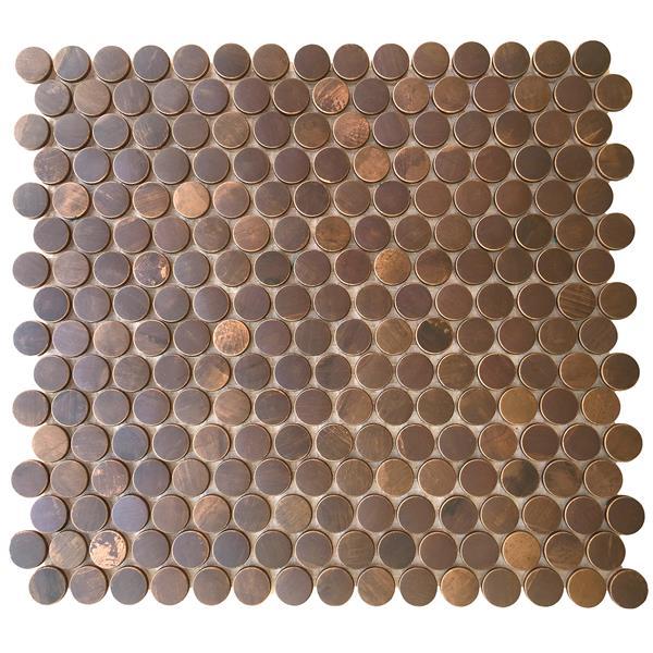 """Eden Mosaic Tiles  Penny Round Antique Copper Mosaic Tile - 11-Pack - 12""""x12"""""""