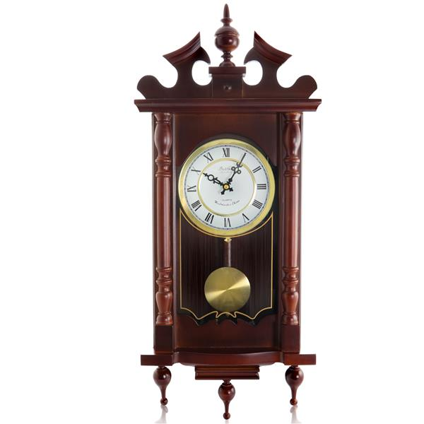 "Horloge murale Bedford, 12"" x 31"", bois, merisier"