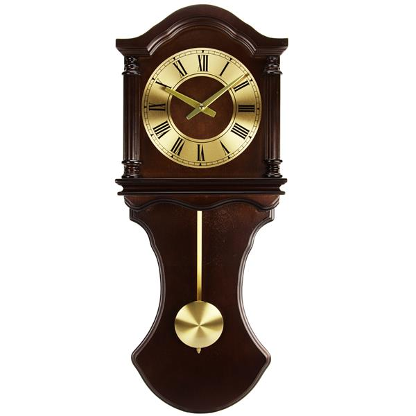 """Bedford Wall Clock with Pendalum - 28"""" - Wood - Chocolate"""