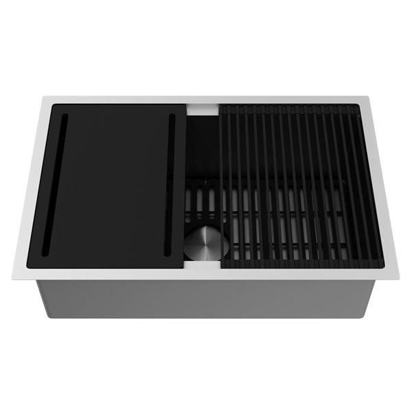 """Vigo® Kitchen Sink with Grid and Strainer - 30"""""""