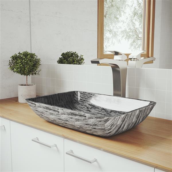 Vasque et robinet de salle de bain «Titanium», nickel