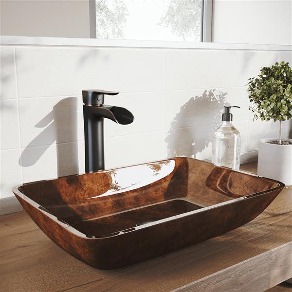 """Vasque et robinet de salle de bain Vigo(MD), 18"""", bronze"""