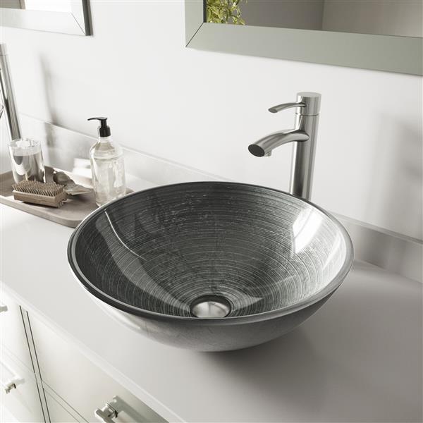 Vasque et robinet de salle de bain Vigo(MD), nickel brossé