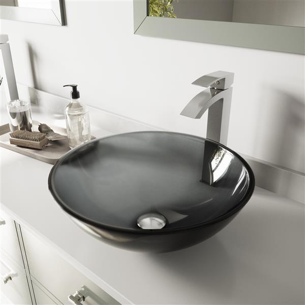 VIGO Glass Vessel Bathroom Sink with Faucet - Matte Black