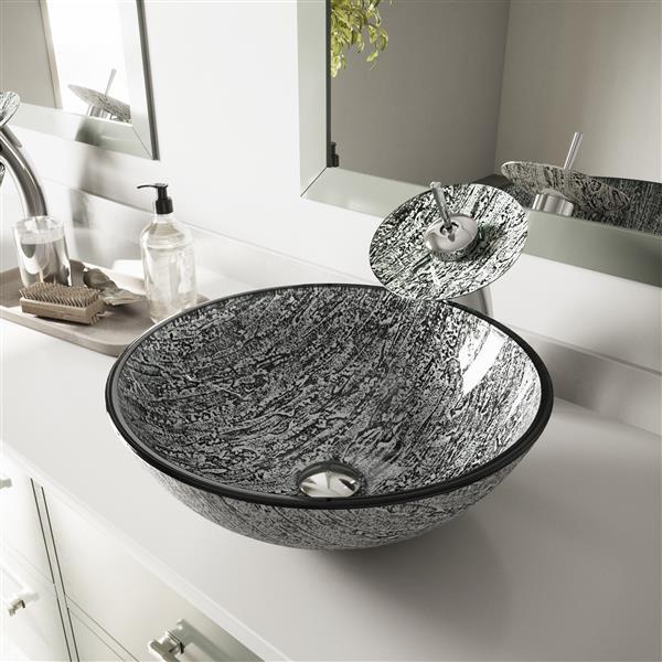 Pleasant Vigo Titanium Glass Vessel Bathroom Sink Waterfall Faucet Interior Design Ideas Gentotryabchikinfo