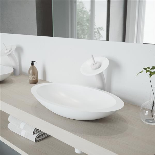 VIGO Waterfall Bathroom Vessel Faucet With Matte Stone Disk