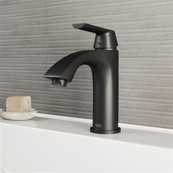 Robinet de salle de bain monotrou «Penela», 1 poignée, noir