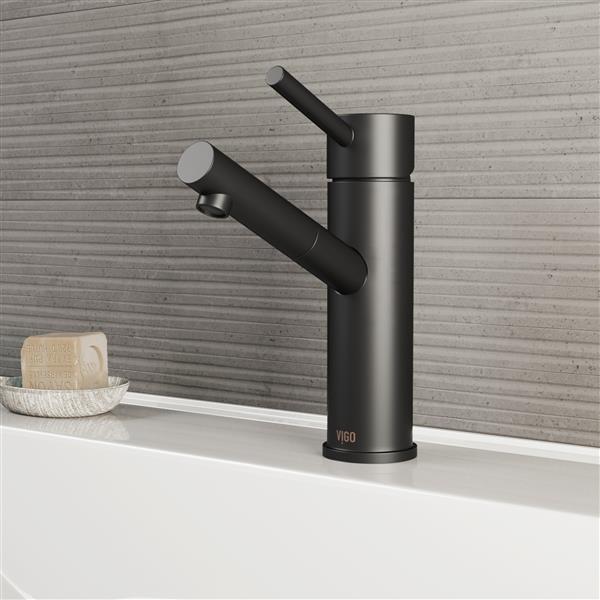 VIGO Noma Single Hole Bathroom Faucet - 1 Handle - Matte Black