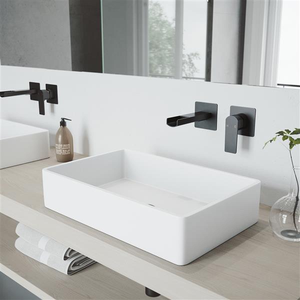 VIGO Atticus Wall Mount Bathroom Faucet - 1 Handle - Matte Black