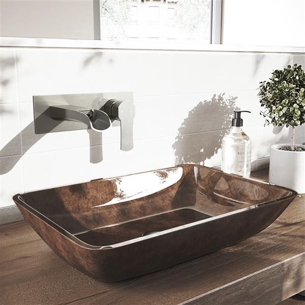 Robinet pour salle de bain mural «Cornelius», nickel brossé
