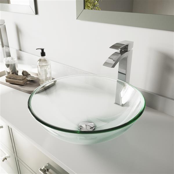 Wondrous Vigo Crystalline Vessel Bathroom Sink With Faucet Interior Design Ideas Gentotryabchikinfo