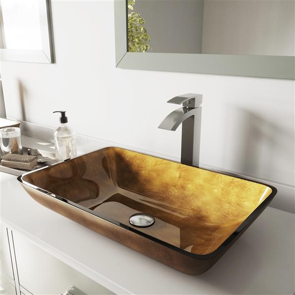 VIGO Vessel Bathroom Sink with Faucet - Brushed Nickel