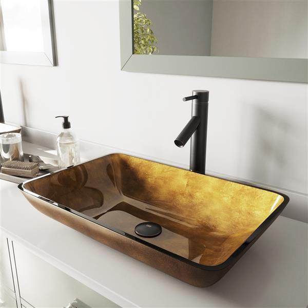 Vigo 174 Glass Vessel Bathroom Sink With Faucet Rubbed