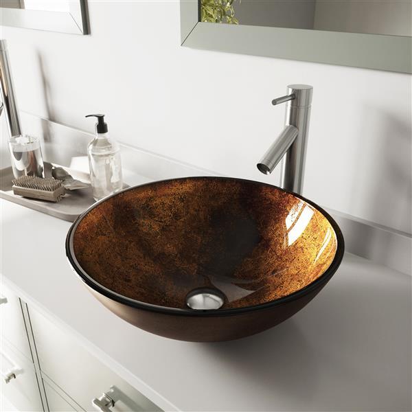 VIGO Glass Vessel Bathroom Sink with Faucet - Rubbed Bronze