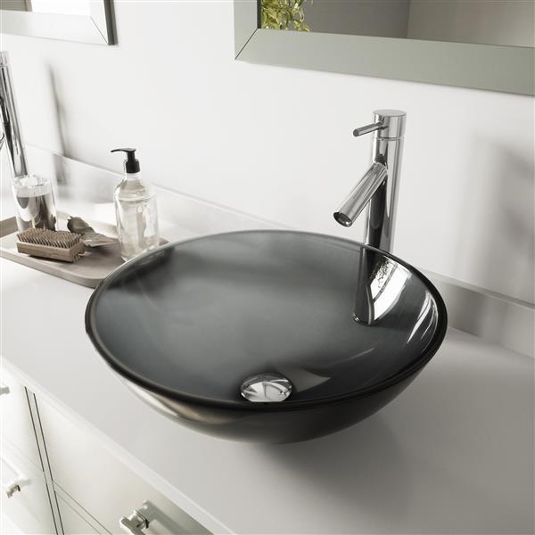 Vasque et robinet de salle de bain en verre Vigo(MD), chrome