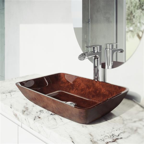 "Vasque et robinet de salle de bain Vigo(MD), 18"", chrome"