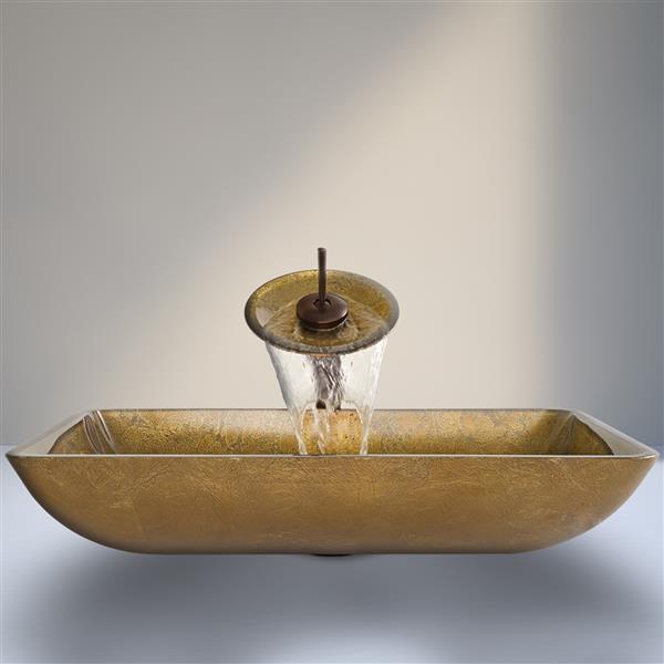 VIGO Glass Vessel Bathroom Sink and Waterfall Faucet