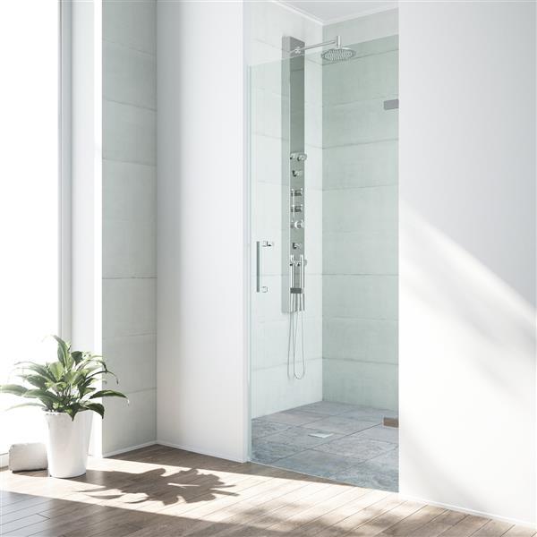 VIGO Soho Frameless Shower Door - 26-in x 24-in x 70-in - Clear Glass