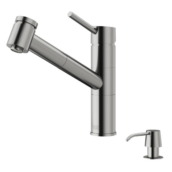 VIGO Branson Pull-Out Spray Kitchen Faucet - Stainless