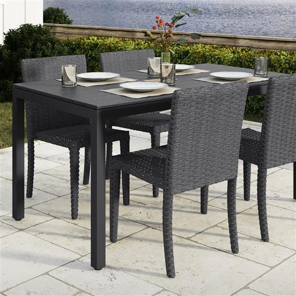"""Table de patio CorLiving, noire, 31"""" x 59"""""""