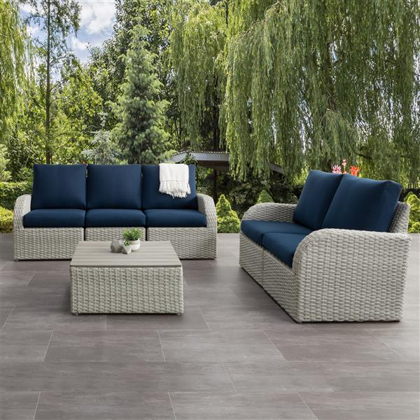CorLiving Patio Conversation Set- Blended Grey / Navy Blue - 6pc