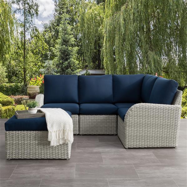 CorLiving Corner Sectional Patio Set- Blended Grey / Navy Blue - 5pc