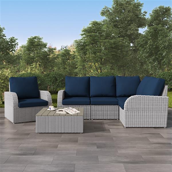 CorLiving Corner Sectional Patio Set- Blended Grey / Navy Blue - 6pc