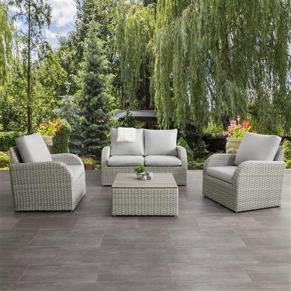 CorLiving Patio Conversation Set, Blended Grey / Light Grey - 5pc
