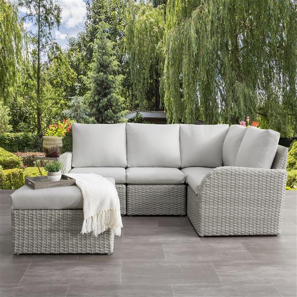 CorLiving Corner Sectional Patio Set, Blended Grey / Light Grey - 5pc