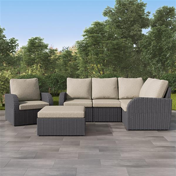 CorLiving Corner Sectional Patio Set, Charcoal Grey / Grey - 6pc