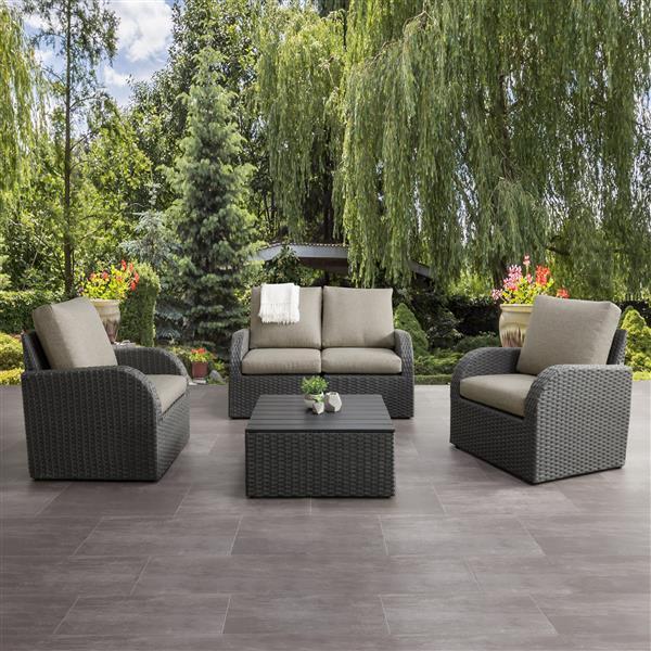 CorLiving Patio Conversation Set, Charcoal Grey / Grey - 5pc