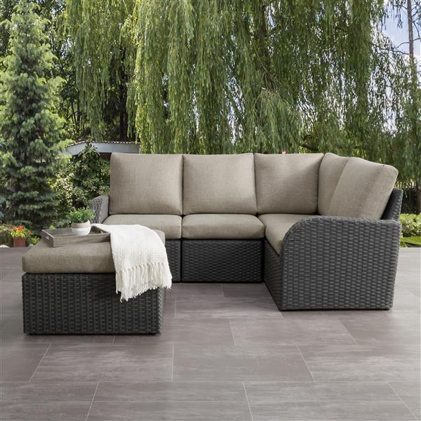 CorLiving Corner Sectional Patio Set, Charcoal Grey / Grey - 5pc