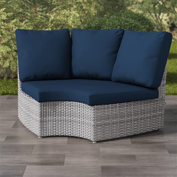 "CorLiving Blended Grey Wicker Corner Patio Chair - Navy Blue - 71"""