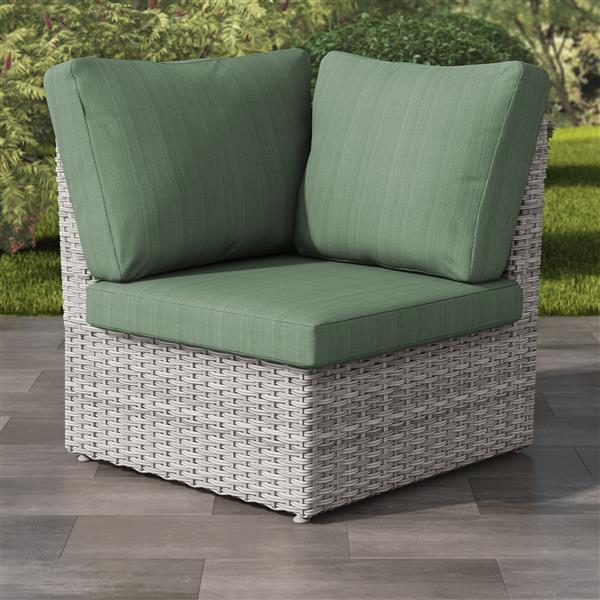 "CorLiving Blended Grey Resin Wicker Corner Patio Chair - Green - 34"""