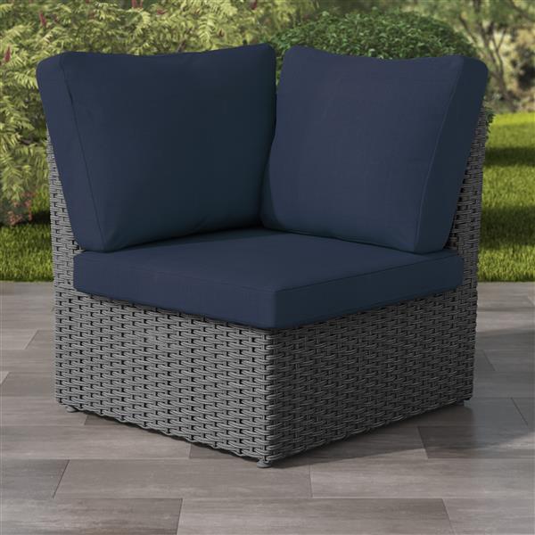 "CorLiving Charcoal Grey Wicker Corner Patio Chair - Navy Blue - 34"""