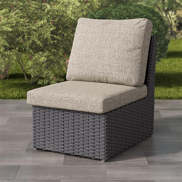 CorLiving Charcoal Grey Resin Wicker Armless Patio Chair - Grey - 24""